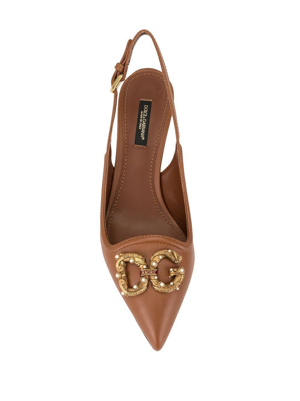 Zapatos de tacón con tira trasera y detalles Dolce & Gabbana de Cuero de color Marrón