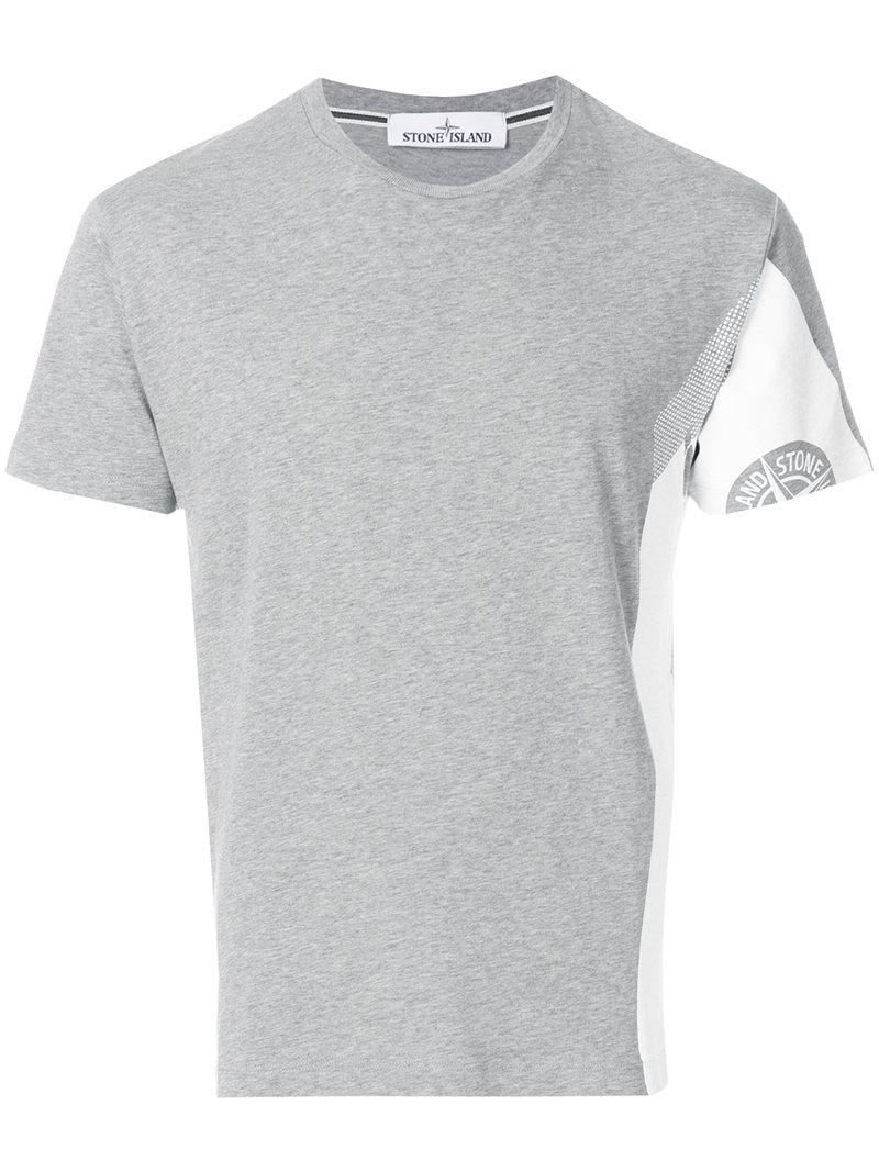 Lyst stone island printed logo t shirt in gray for men for T shirt with logo printed