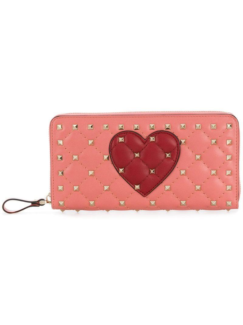 7b82672038aa Valentino. Women's Pink Garavani Rockstud Spike Heart Continental Wallet