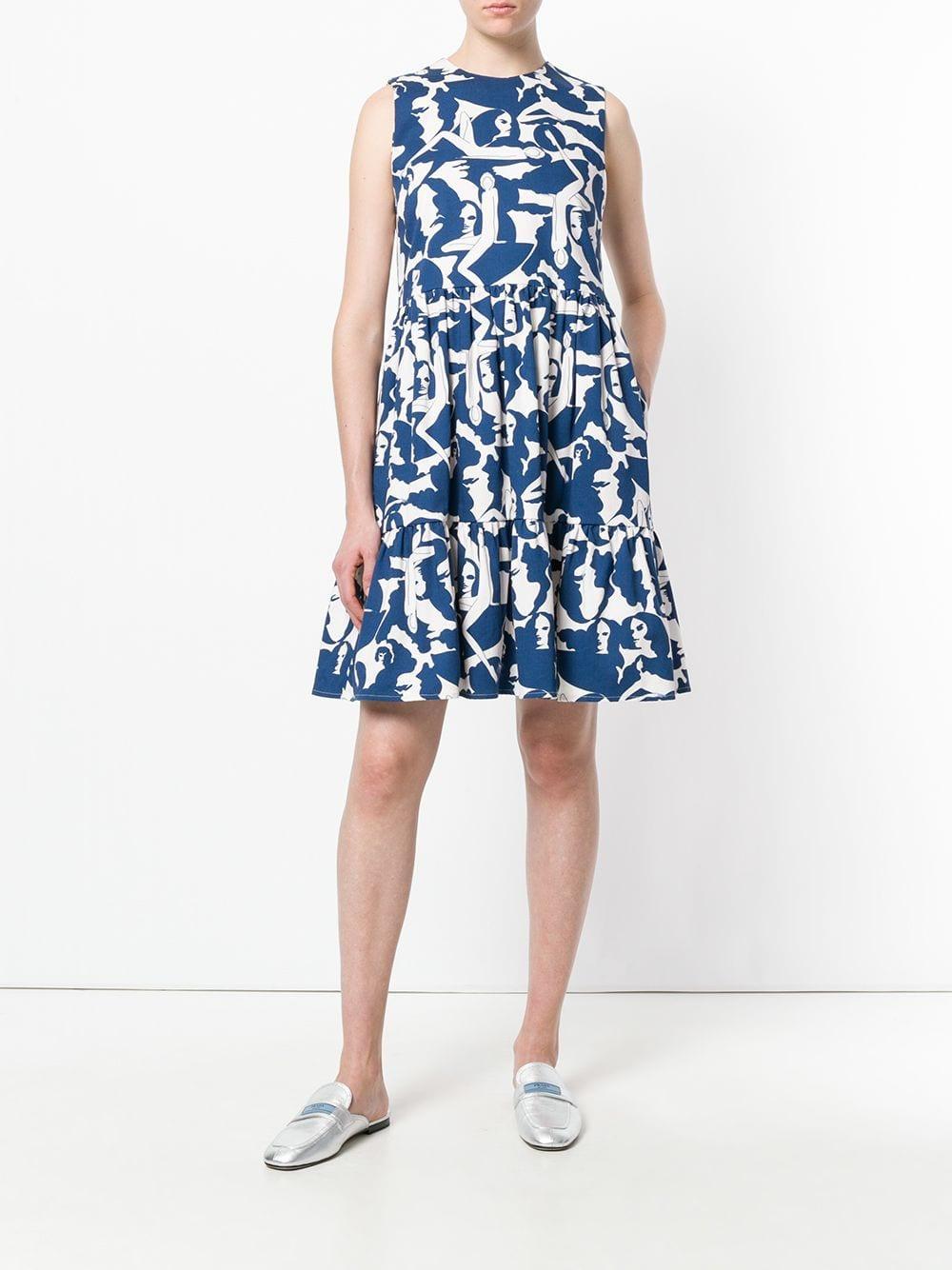 Sleeveless printed dress Coton LaDoubleJ en coloris Blanc