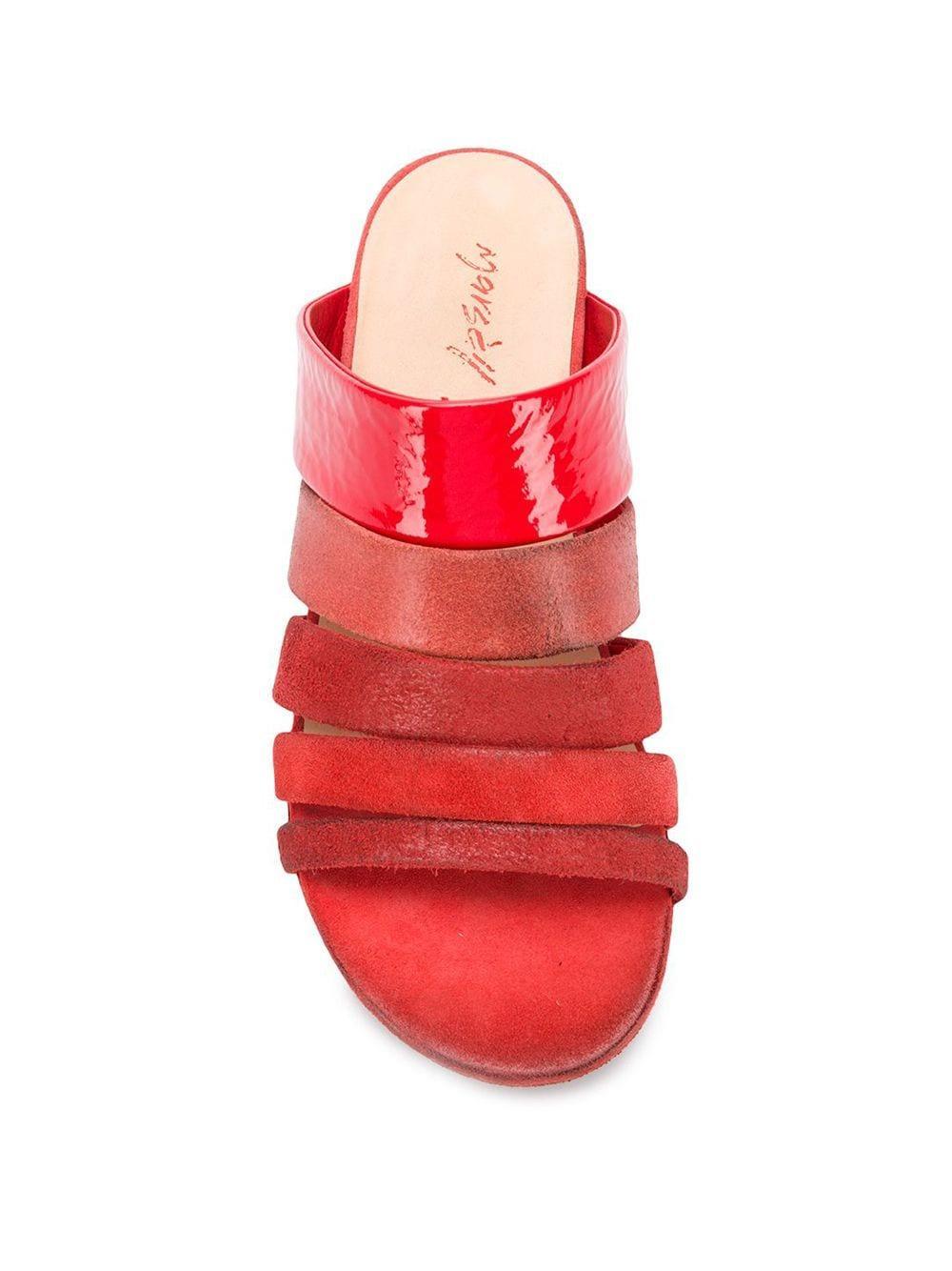Mules con diseño tonal Marsèll de Cuero de color Rojo