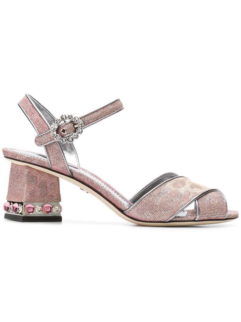 7668645b1b1cfe Lyst - Dolce   Gabbana Cross Front Jeweled Heel Sandal in Red