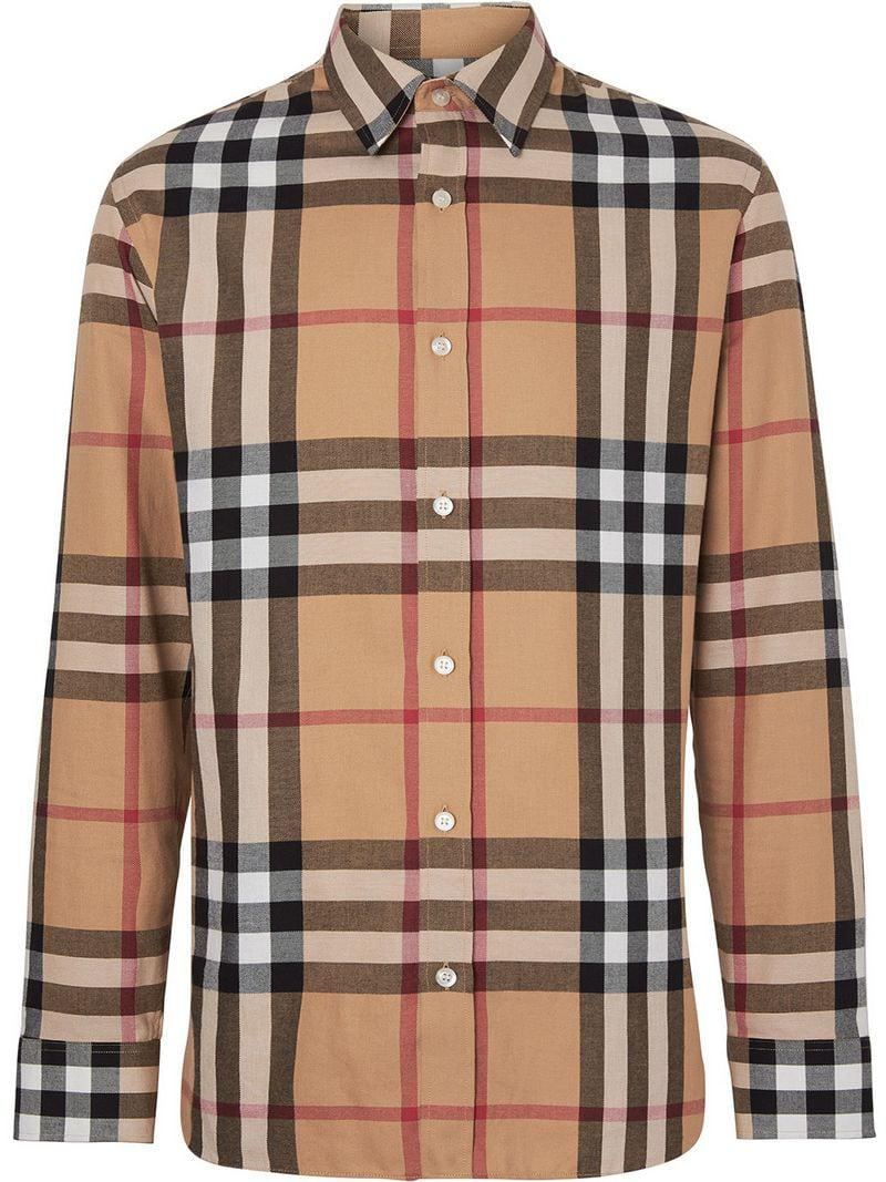 f19bf0fdf Lyst - Burberry Haymarket Check Shirt in Yellow for Men