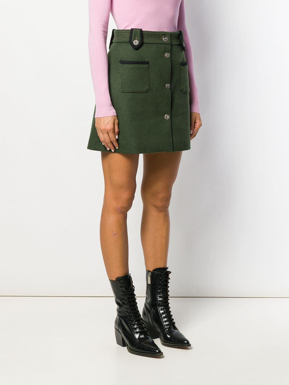 Falda militar Miu Miu de Lana de color Verde