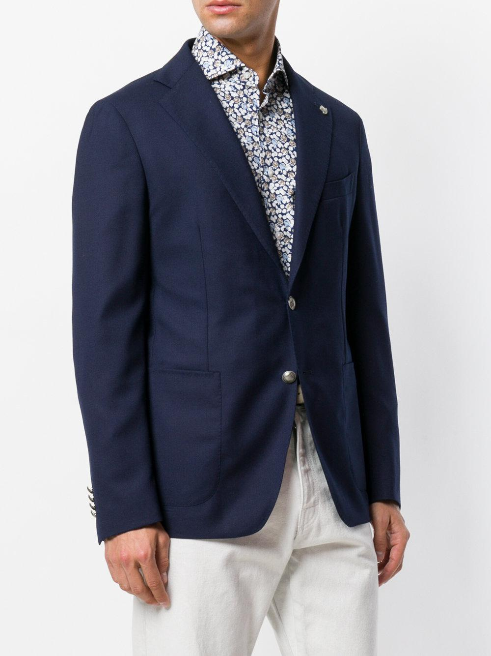 Tagliatore Wool Fitted Casual Suit Jacket in Blue for Men
