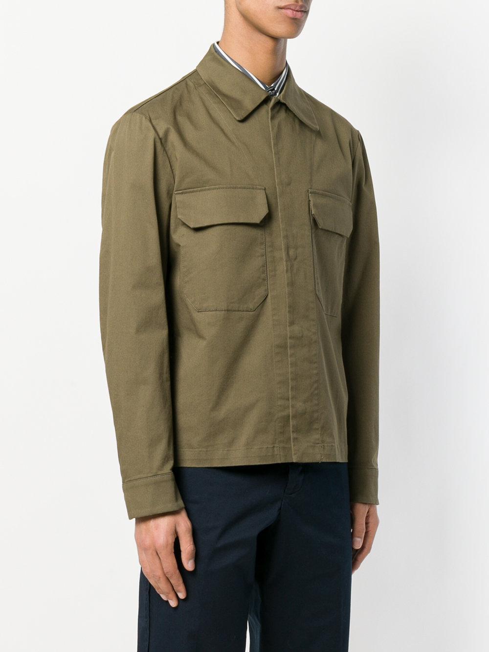 Barena Cotton Button Shirt Jacket in Green for Men