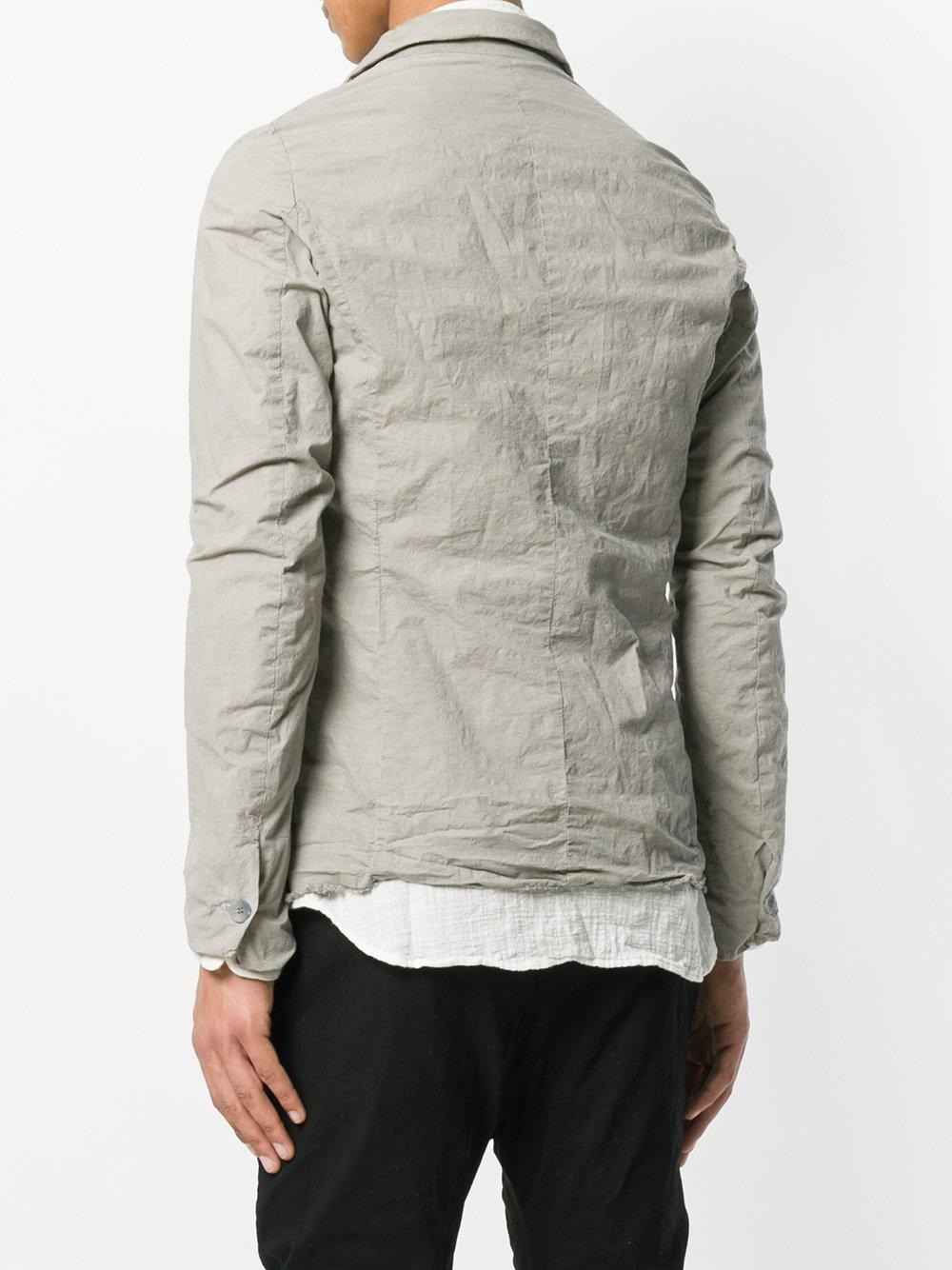 Poeme Bohemien Cotton Distressed Shirt Jacket in Grey (Grey) for Men