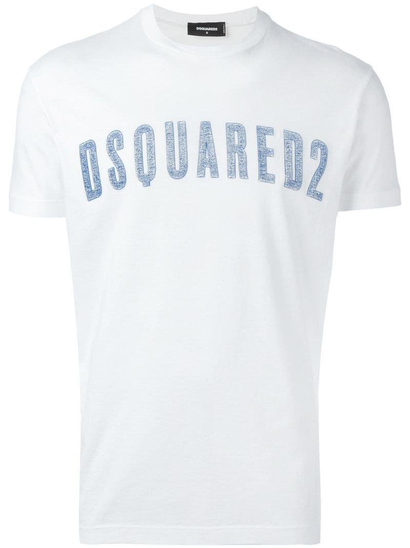 Lyst dsquared vintage embroidered logo t shirt in white for Shirt with logo embroidered