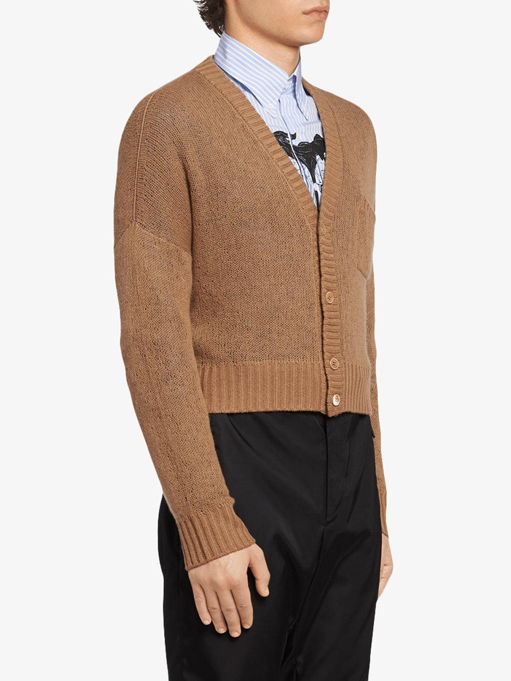 Prada Cashmere Ribbed V-neck Cardigan in Brown for Men