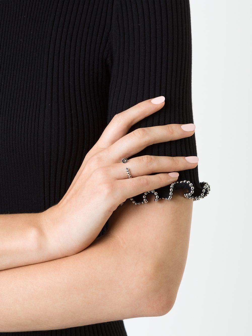 Alison Lou Screw Stack Sapphire Ring in Metallic