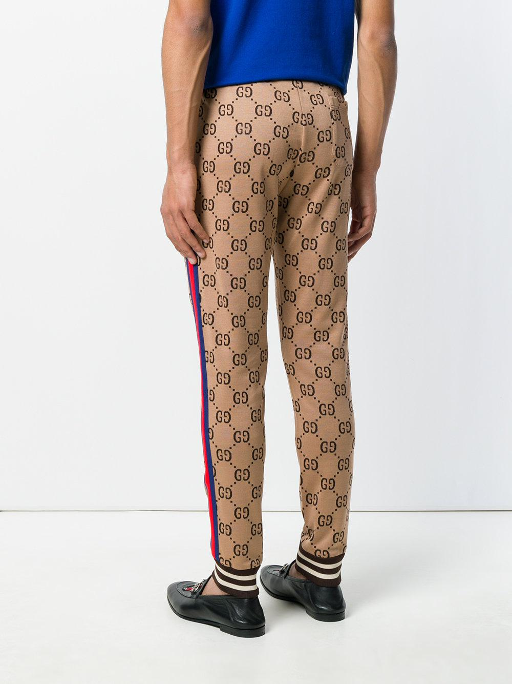 13b4efeb2 Gucci Gg Jacquard Jogging Trousers in Natural for Men - Lyst