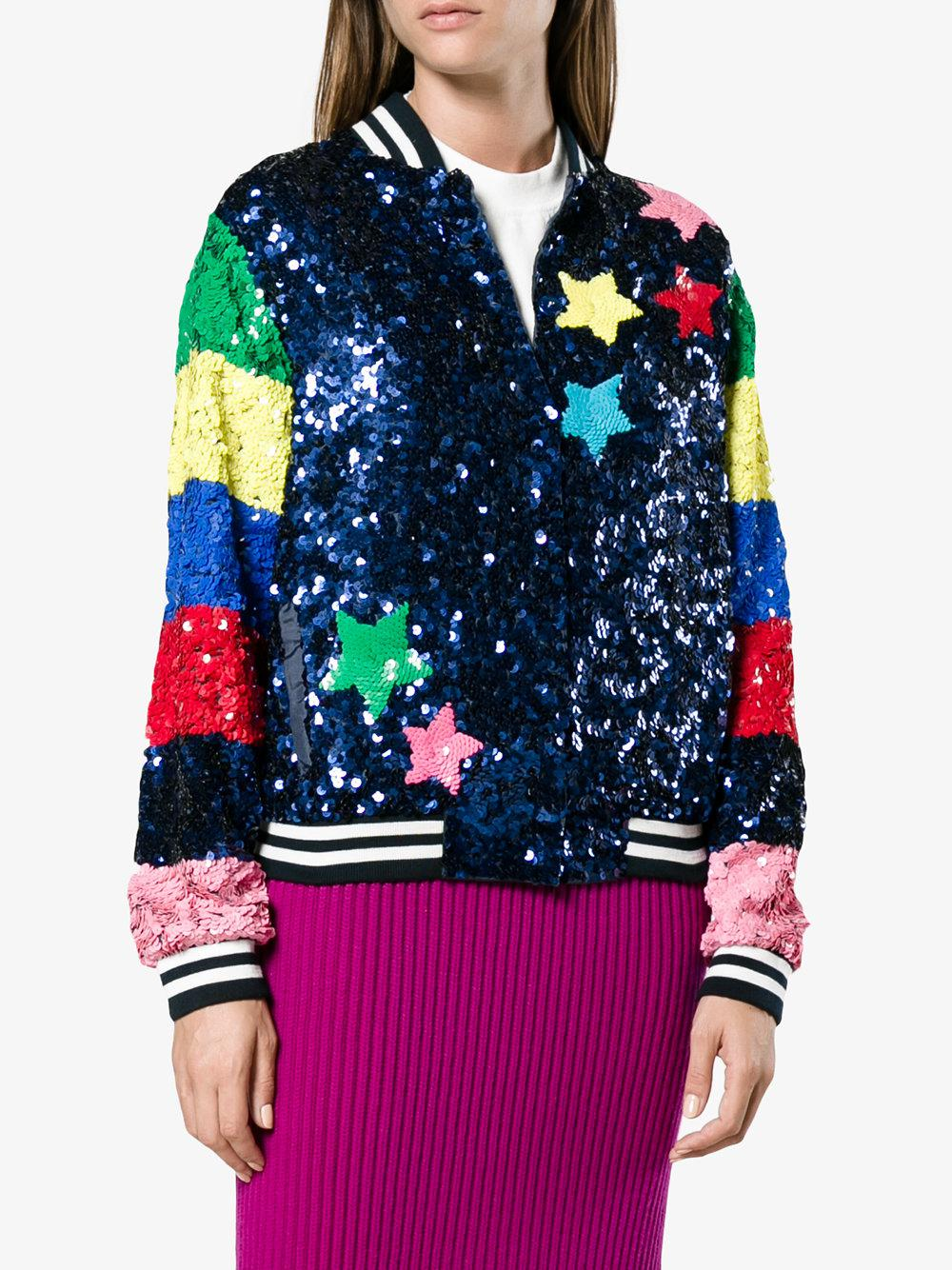 856f19c575360 Lyst - Mira mikati Sequin Bomber With Rainbow Sleeves in Blue