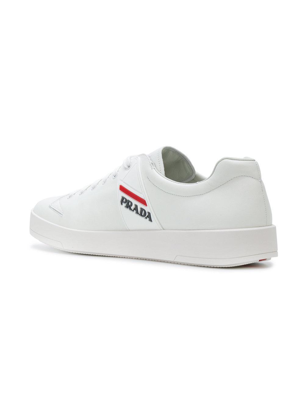 Zapatillas con cordones y panel del logo Prada de Cuero de color Blanco para hombre