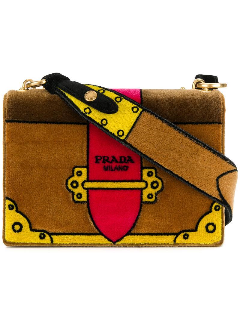 ... czech prada cahier cartoon shoulder bag in brown lyst 224a8 9f80e 1405ae4a8ea82