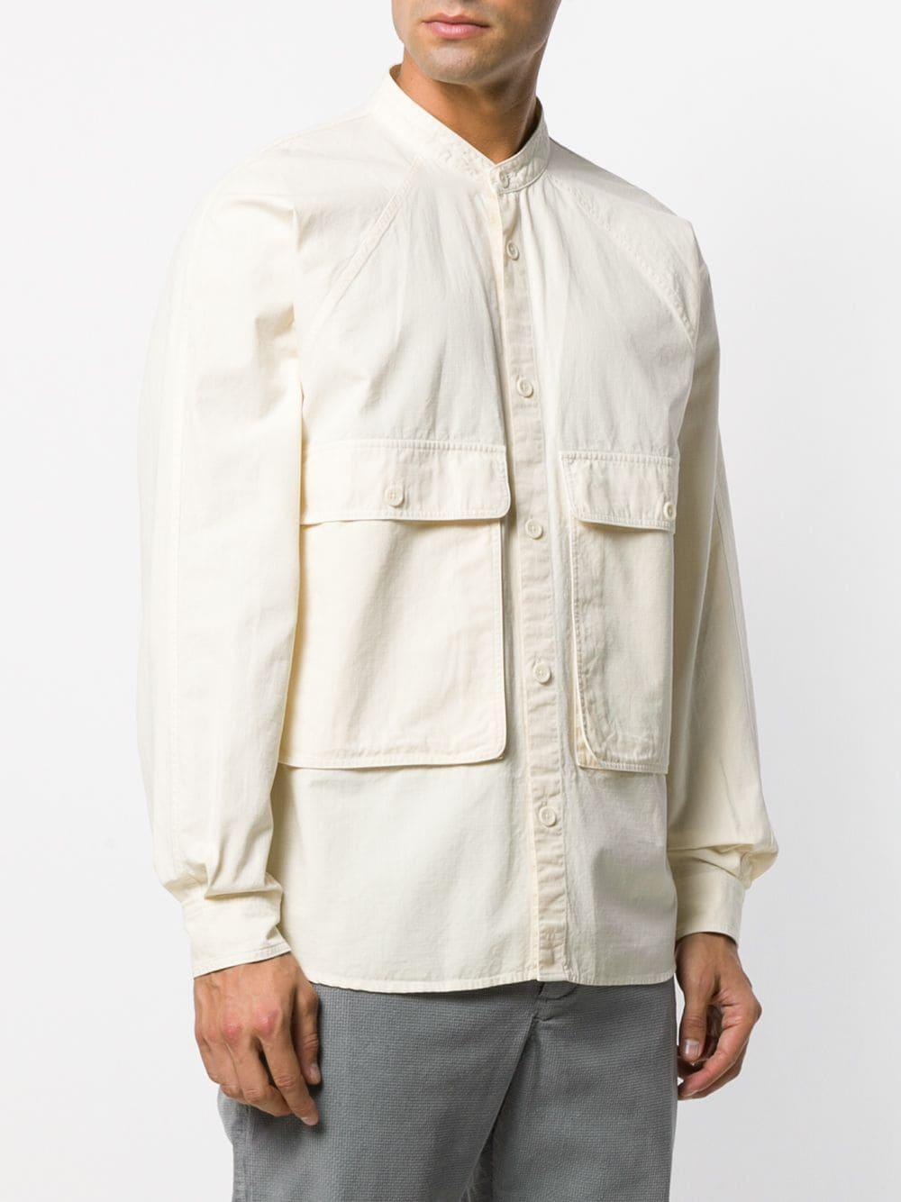 YMC Katoen Overhemd Met Ronde Opstaande Kraag in het Naturel voor heren