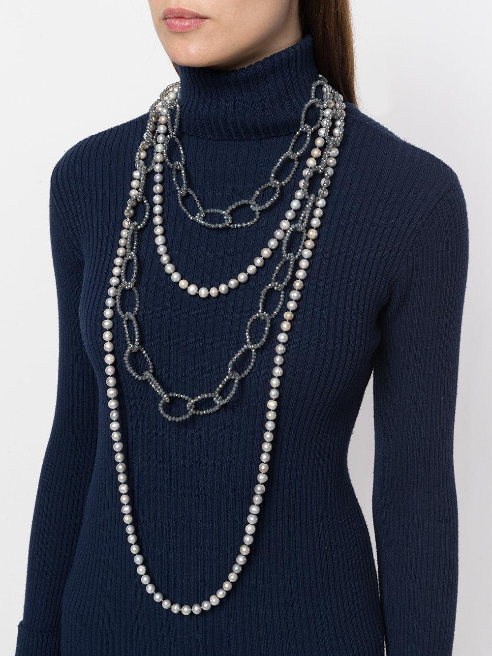 Night Market Faux Pearl And Bead Layered Necklace in Grey (Grey)