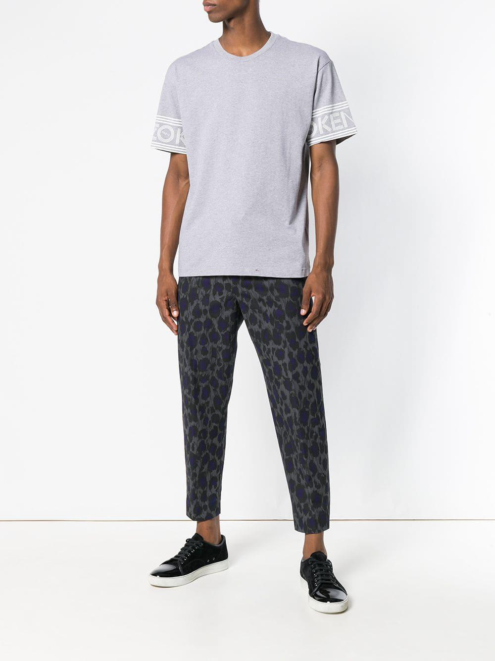 KENZO Cotton Animal-print Trousers in Grey (Grey) for Men