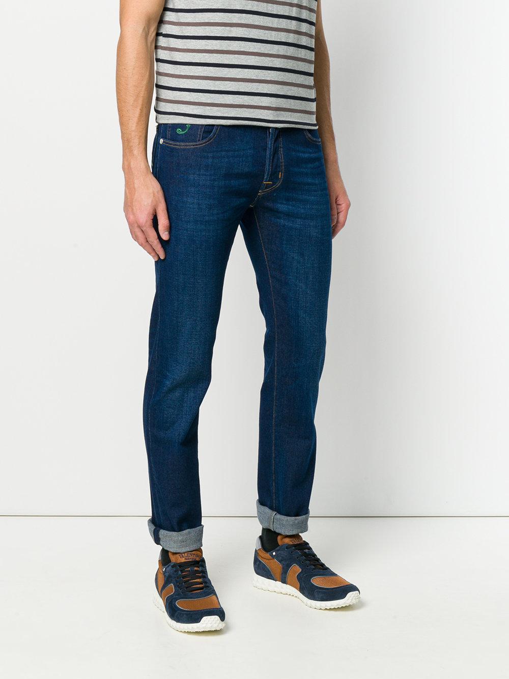 Jacob Cohen Denim Stonewashed Straight Leg Jeans in Blue for Men