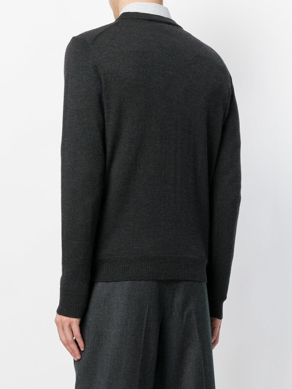 AMI Wol Crewneck Ami De Coeur Sweater in het Grijs voor heren
