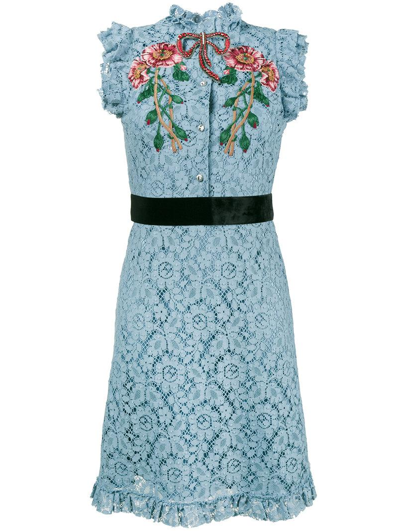 e85026db0 Gucci Embroidered Cluny Lace Dress in Blue - Lyst