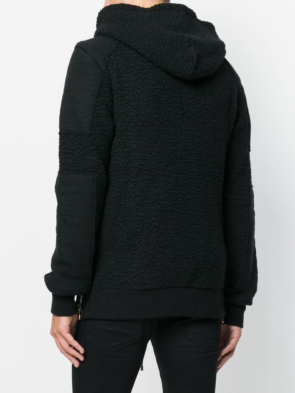 Balmain Wol Zip-up Patch Detail Hoodie in het Zwart voor heren