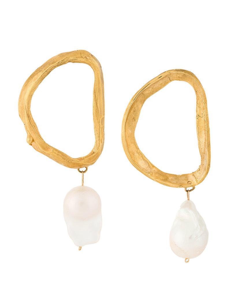 Gold Dantes Shadow Pearl Earrings ALIGHIERI re4Yn2KZ
