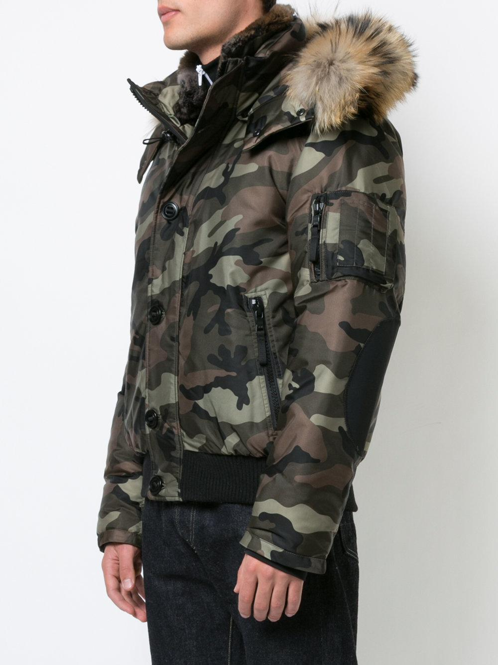 Sam. Fur Icon Camouflage Bomber Jacket in Green for Men