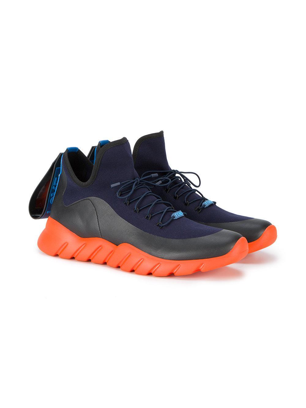 Fendi Top Noir Haut Chaussures De Sport En Tricot - Bleu yRQvY7Hqnj