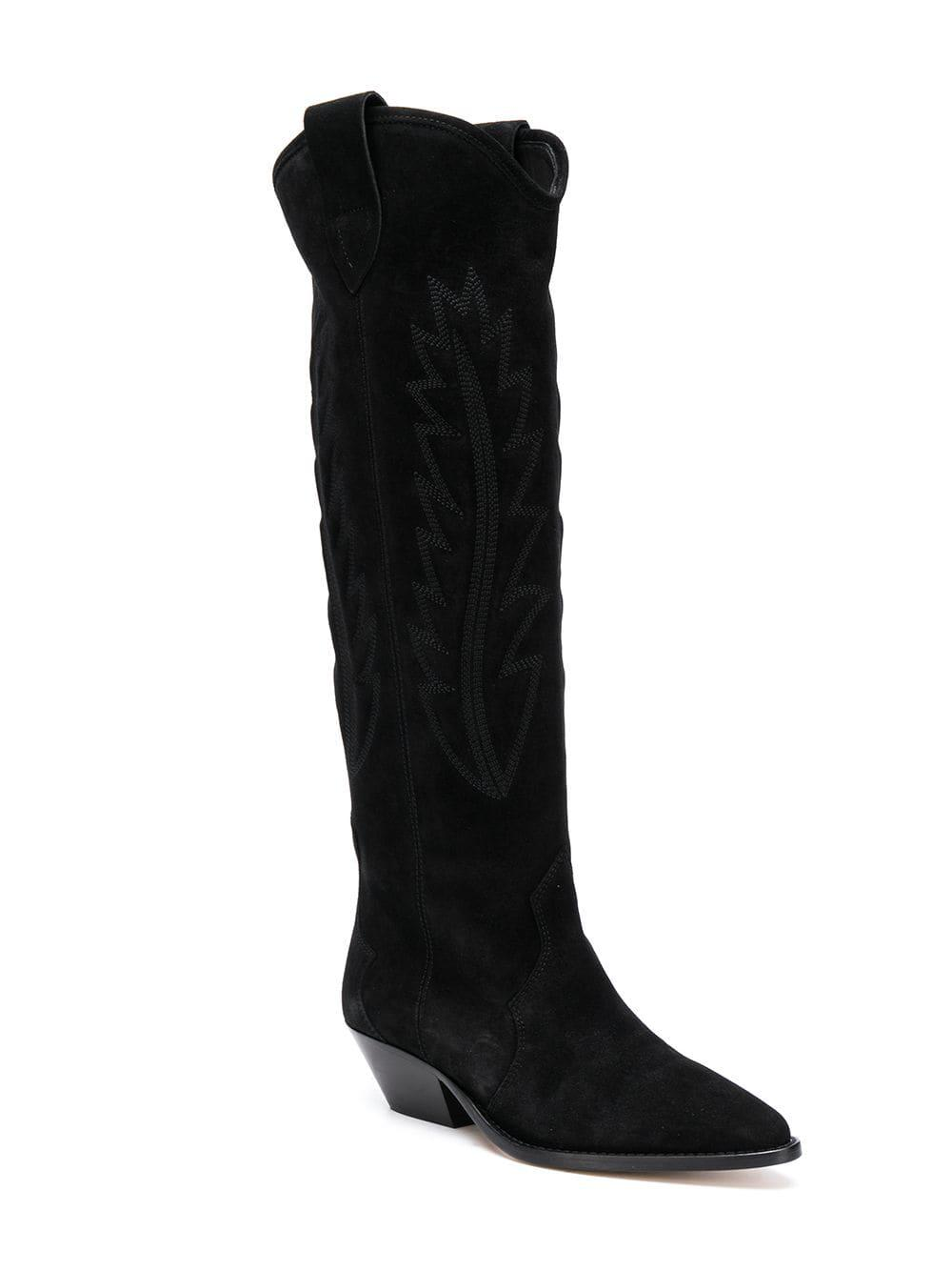 Isabel Marant Leather Denzy High Boots in Black