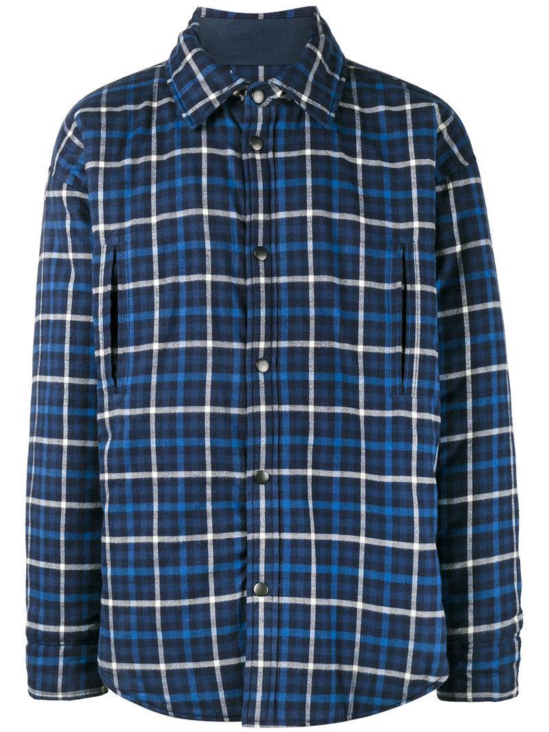 Lyst balenciaga plaid shirt jacket in blue for men for Plaid shirt jacket mens