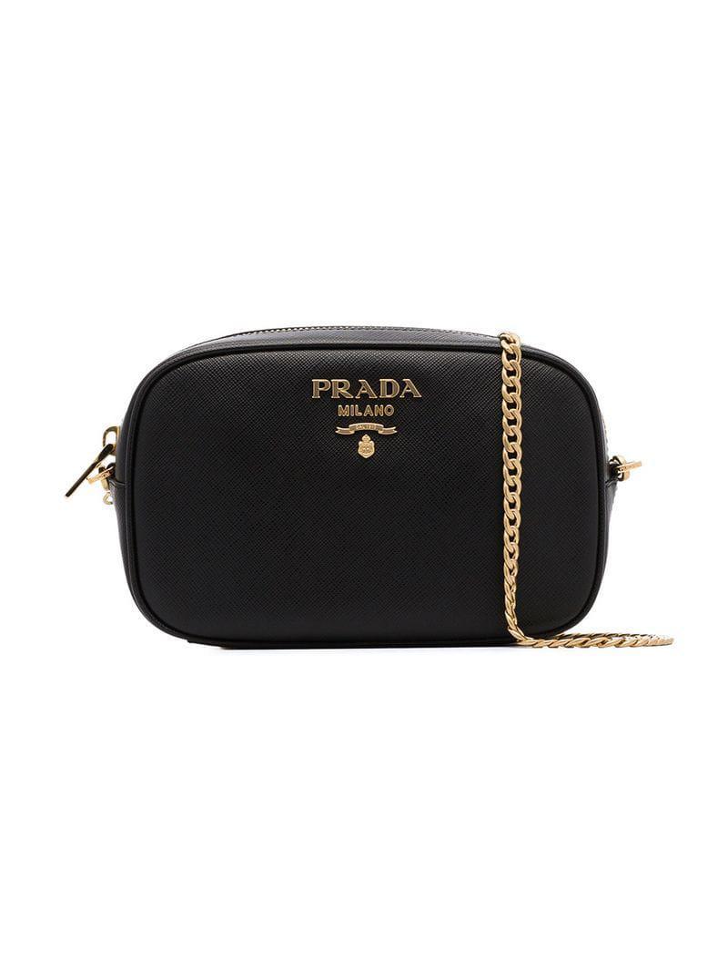 3a3db1a22bf49 Prada Black Small Chain Strap Leather Belt Bag in Black - Lyst