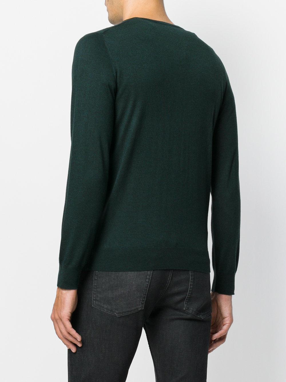 Laneus Silk Crew Neck Sweater in Green for Men