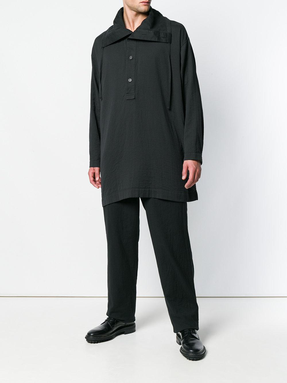 Issey Miyake Cotton High-waist Straight Leg Trousers in Black for Men