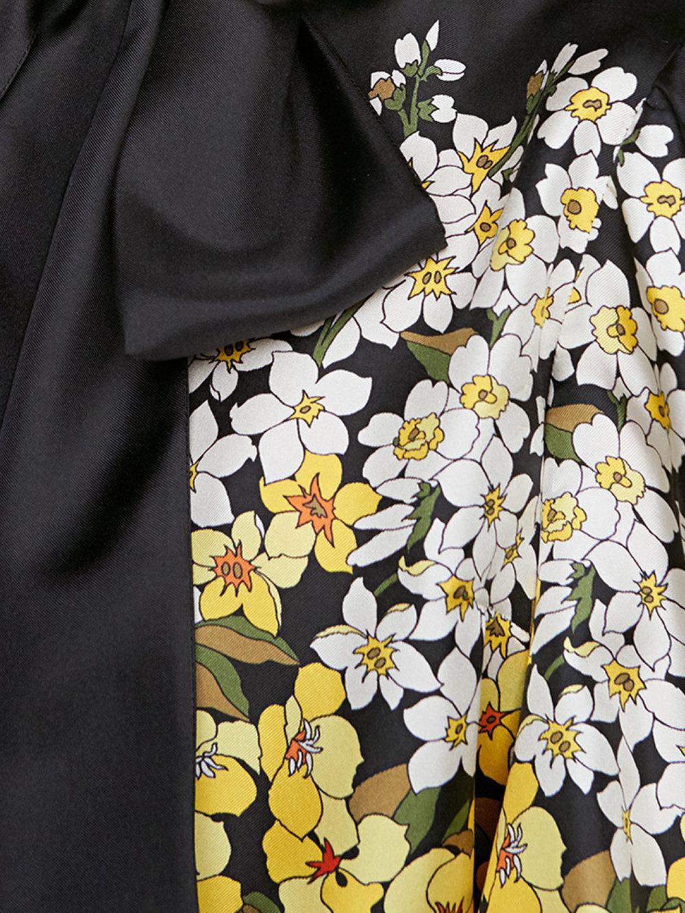 Lyst Gucci Degrad Flowers Silk Twill Shirt In Black