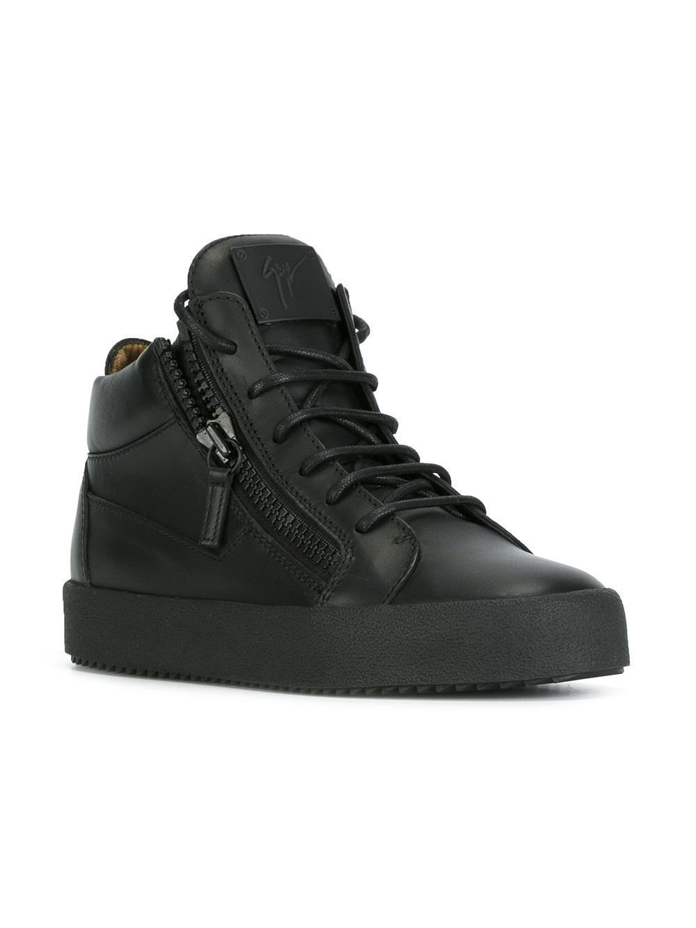 Giuseppe Zanotti Leather Kriss Hi Top Sneakers In Black