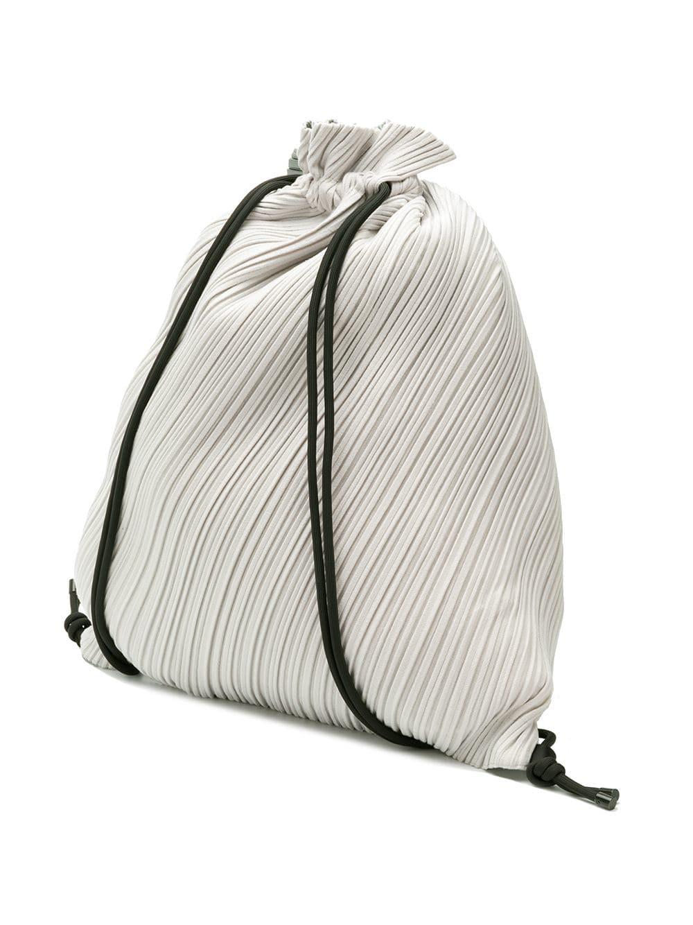 Lyst - Pleats Please Issey Miyake Pleated Drawstring Backpack in Gray c53ec1659f33c