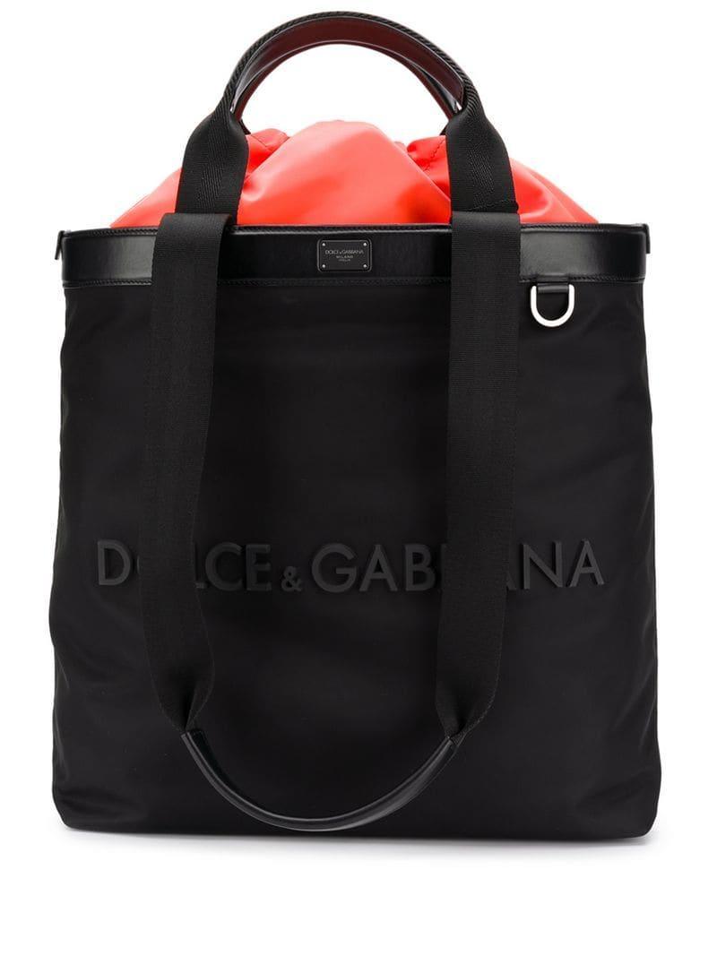 Lyst - Dolce   Gabbana Rubberised Logo Shopping Bag in Black for Men 510c177120514