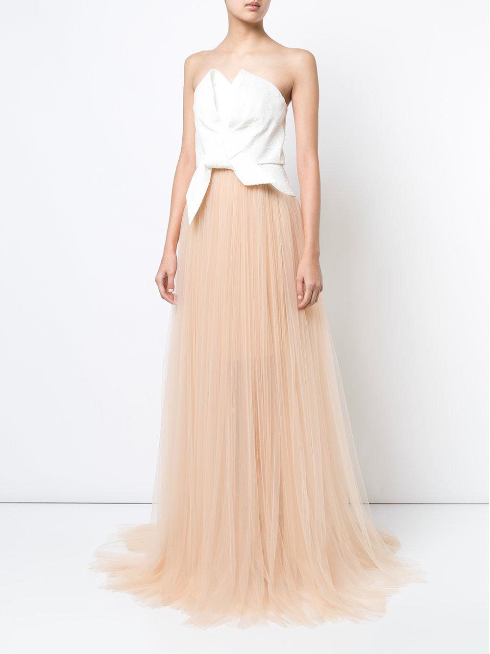 Delpozo Cotton Flared Strapless Maxi Dress in White