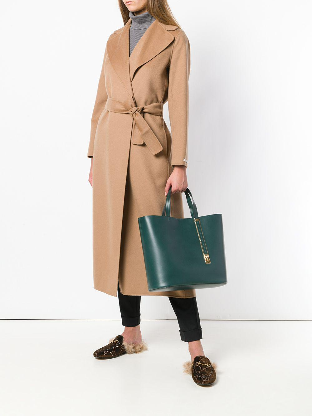 Sophie Hulme Leather Tote Bag in Green