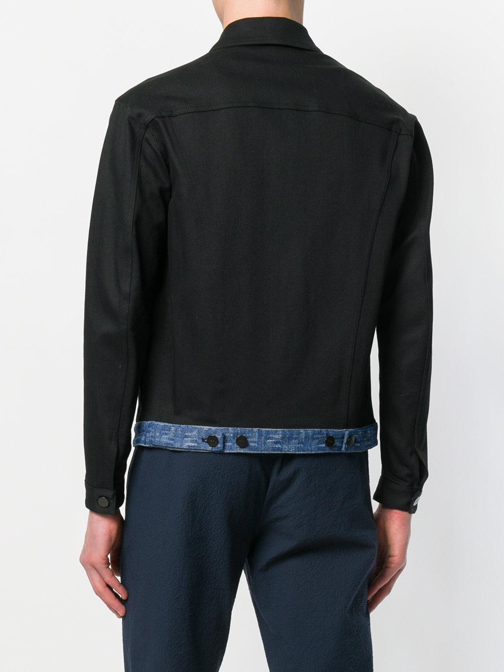Fendi Ff Logo Denim Jacket in Black for Men