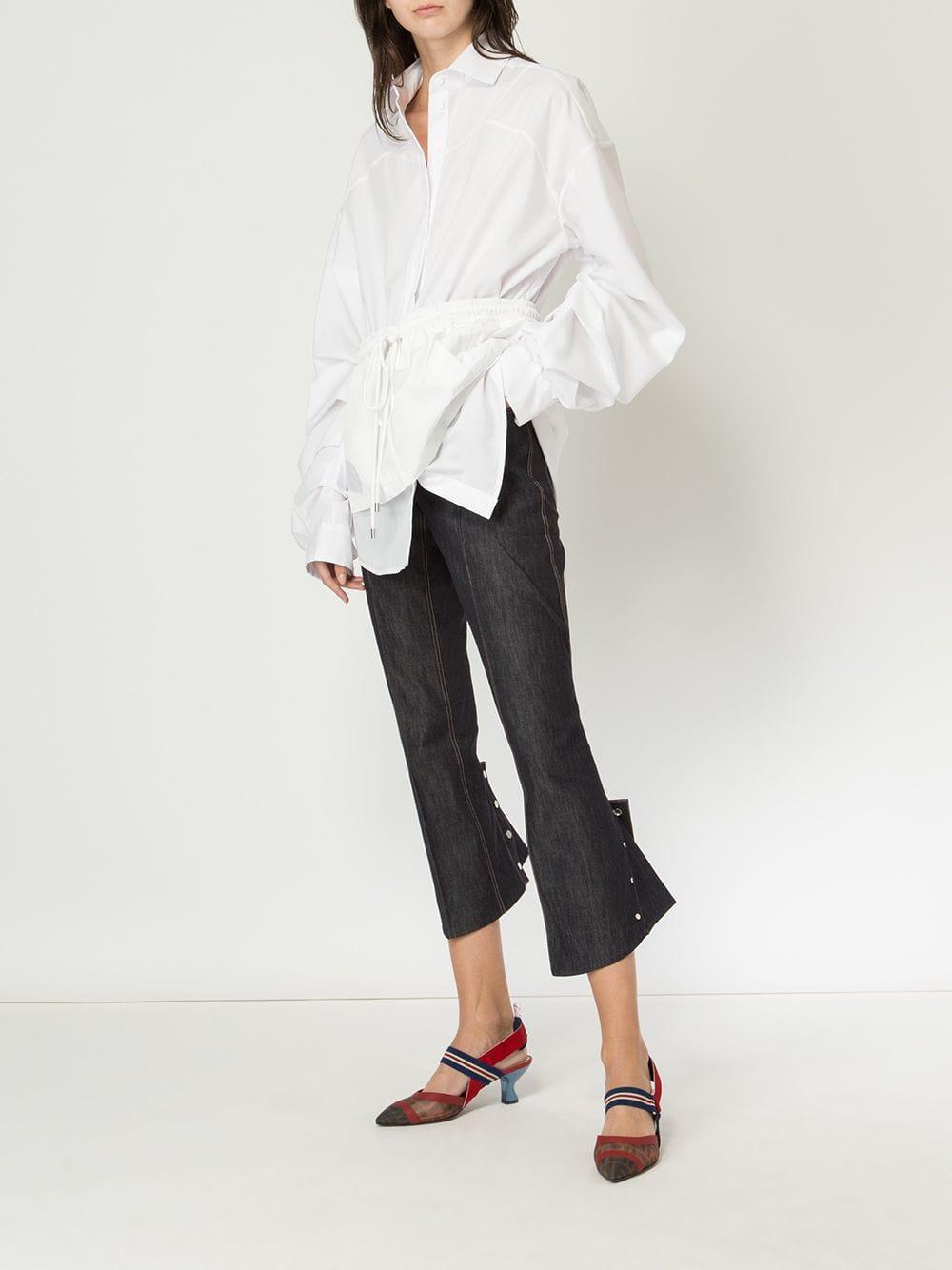 Blusa con cordones en la cintura Preen By Thornton Bregazzi de Tejido sintético de color Blanco
