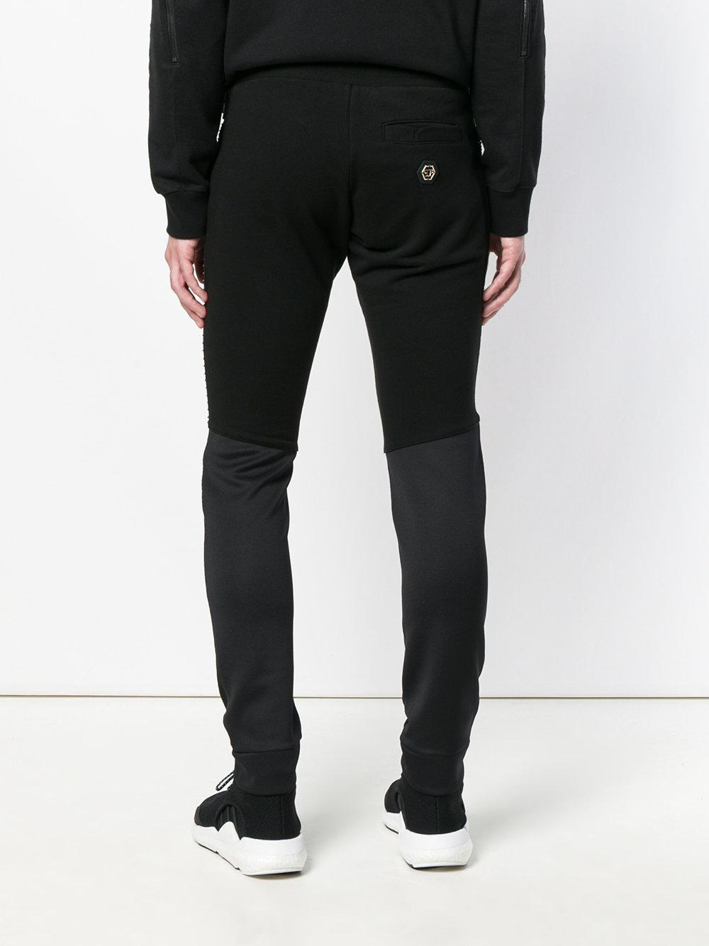 Philipp Plein Cotton Studded Track Pants in Black for Men