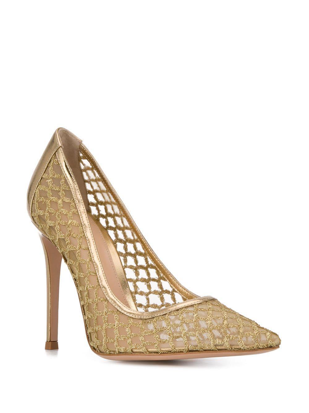 Zapatos de tacón con panel de malla Gianvito Rossi