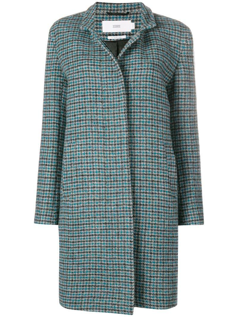 GloryA Womens Thicken Loose Overcoat Plaid Houndstooth Lapel Collar Peacoats