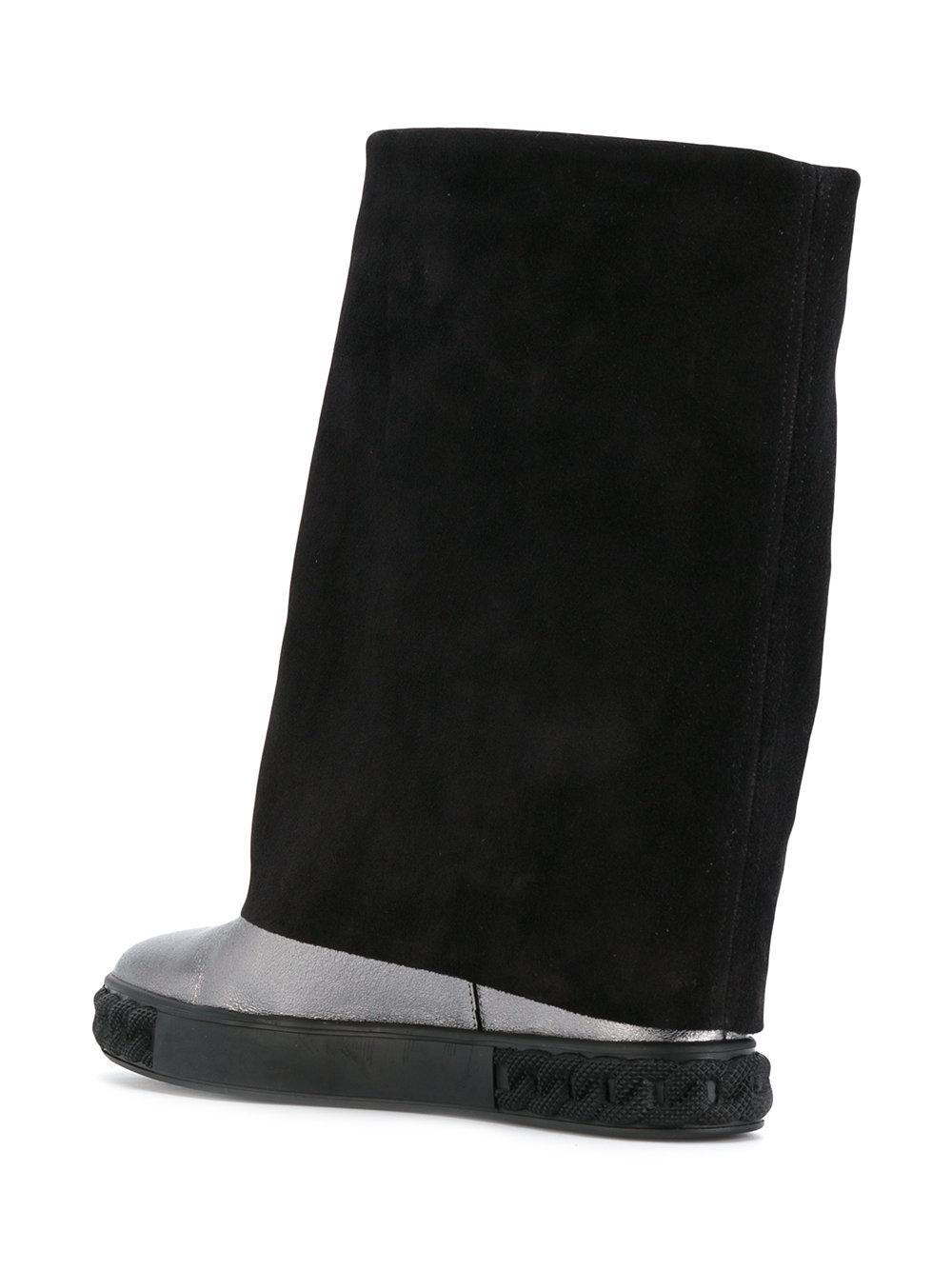Casadei Leather Concealed Heel Metallic Boots in Black
