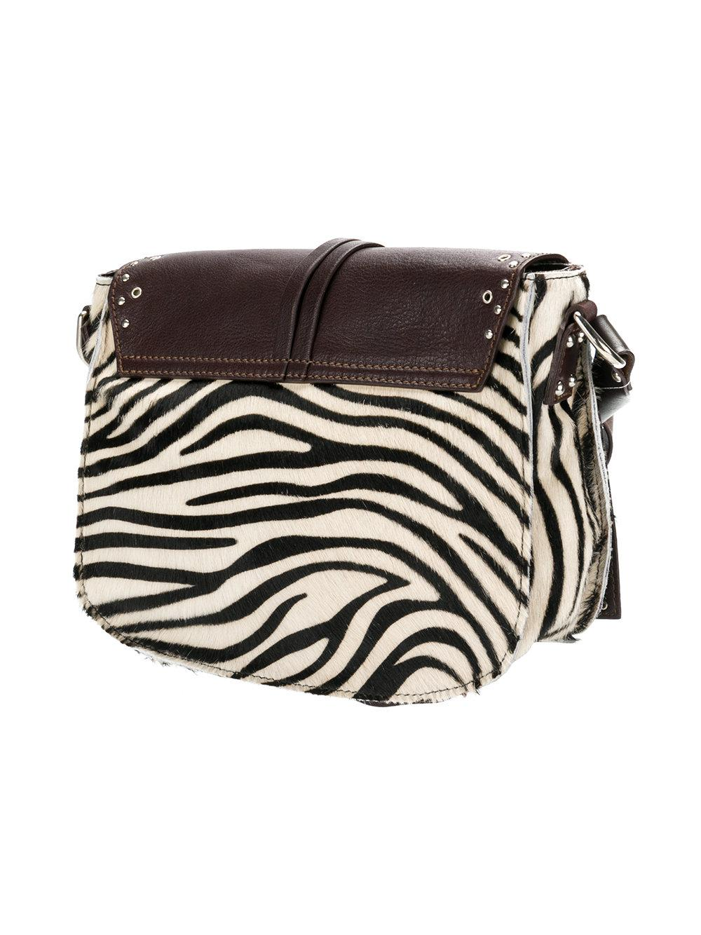 P.A.R.O.S.H. Leather Zebra Panel Crossbody Bag in Brown