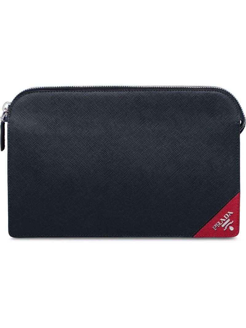 1212180ae731 Prada - Black Logo Tag Clutch Bag for Men - Lyst. View fullscreen