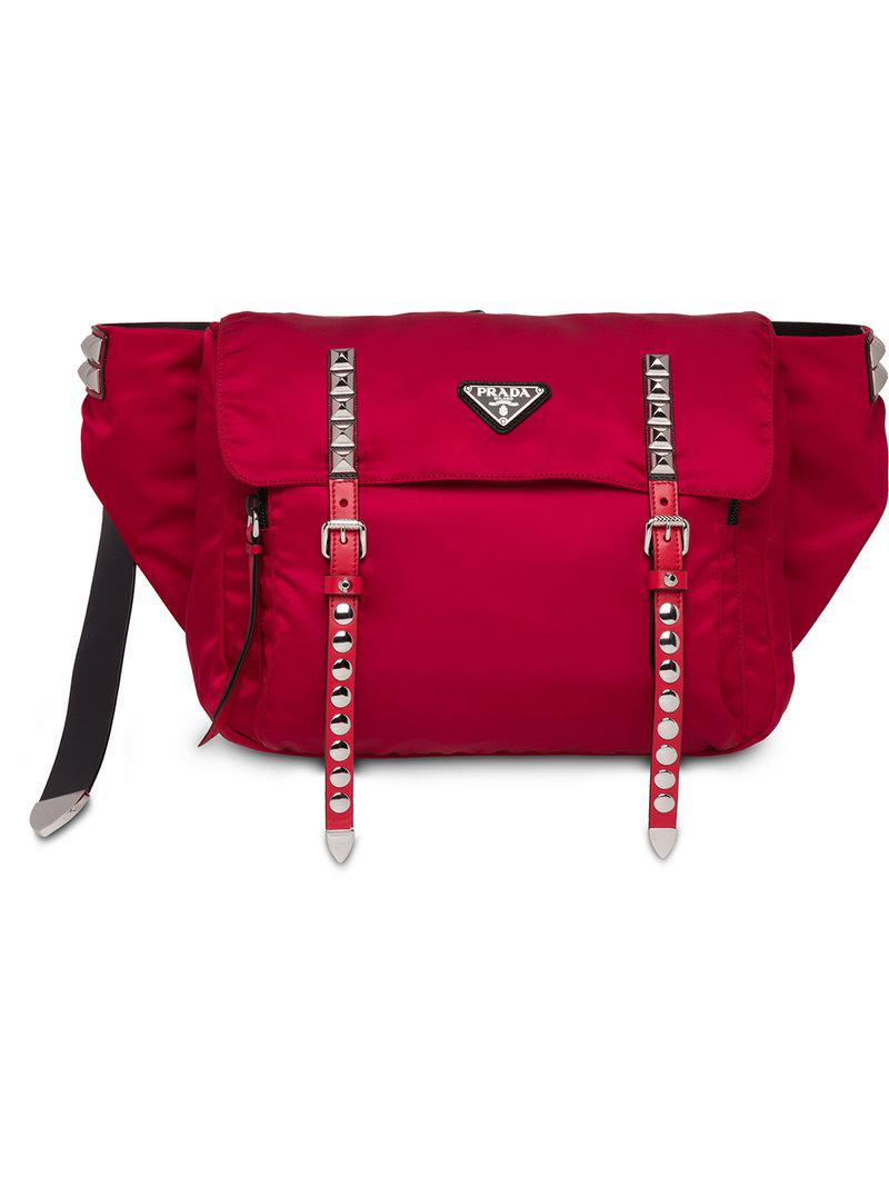 d7a3ee352cd2 ... inexpensive prada studded belt bag in red lyst ba004 e203a