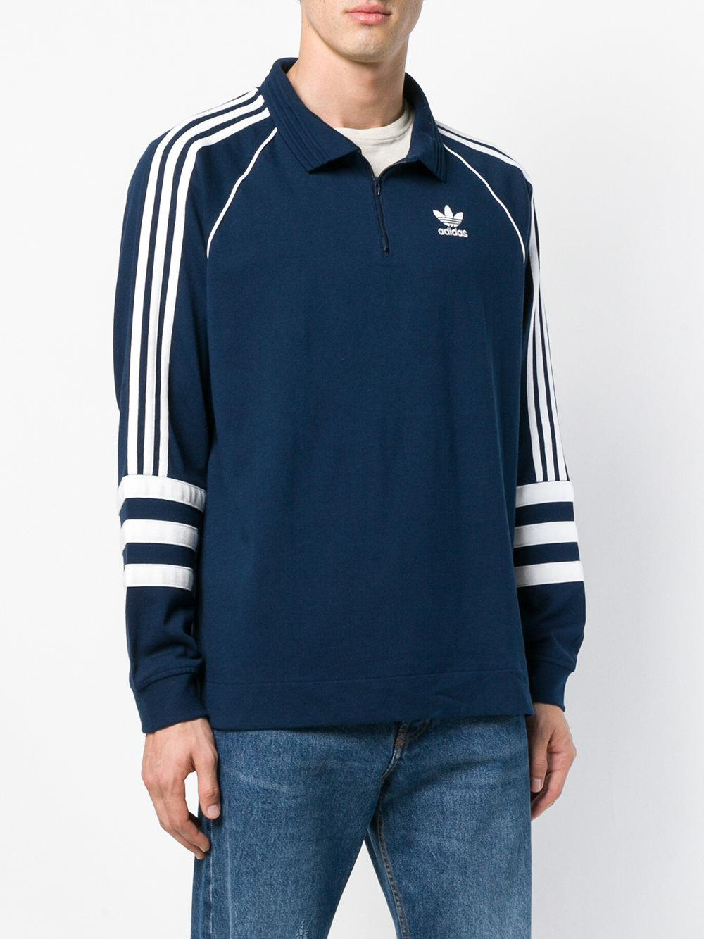 adidas Cotton Authentic Rugby Top in Blue for Men