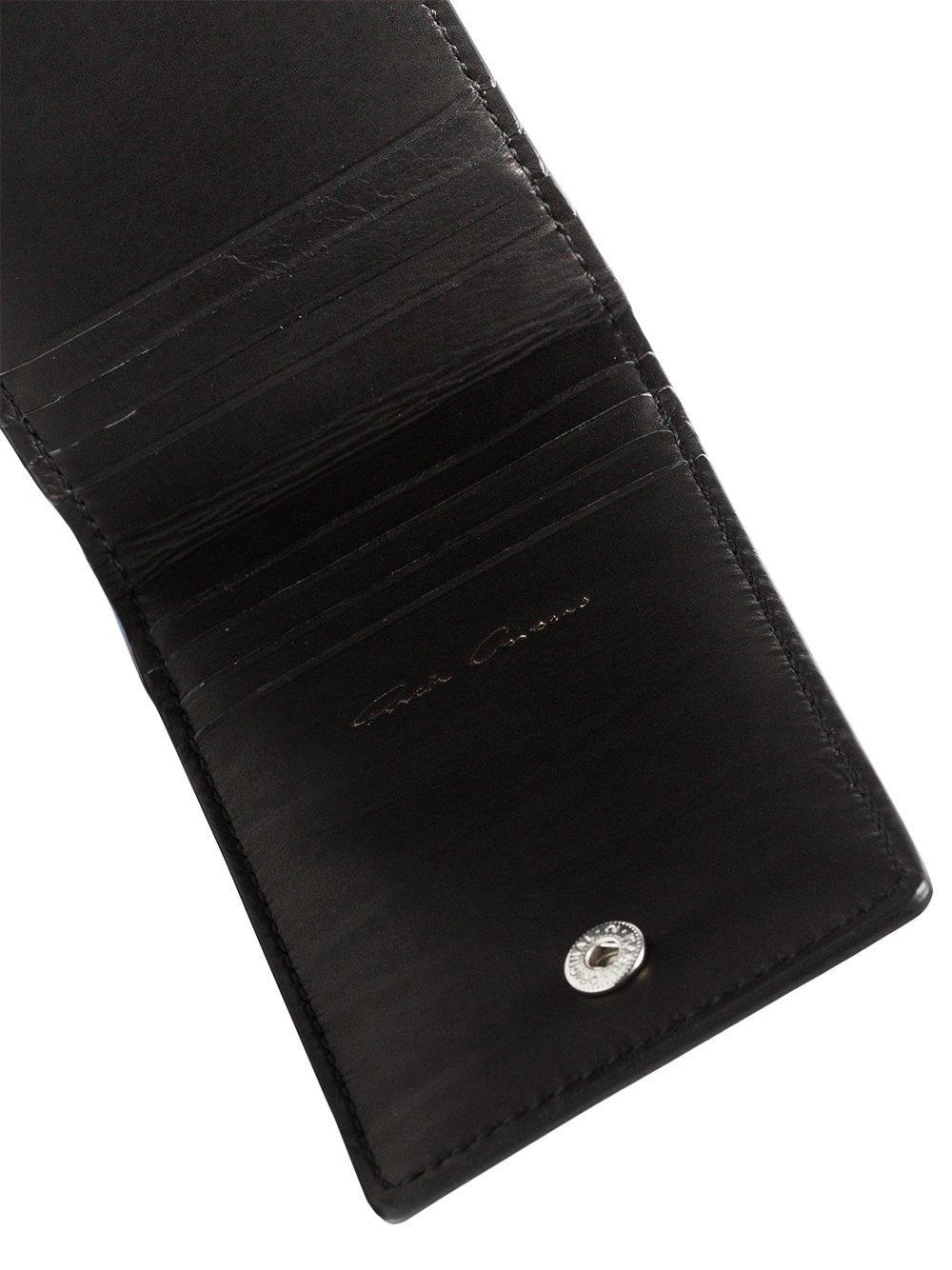 Rick Owens Black Logo Embossed Leather Billfold Cardholder ...